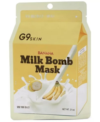 Тканевая маска с экстрактом банана G9SKIN Milk Bomb Mask Banana